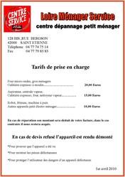 TARIF DU CENTRE DE DEPANNAGE MENAGER